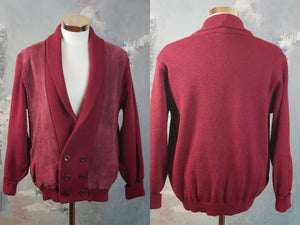 1980s Brick Red Cardigan, European Vintage V-Neck Double-Breasted Wool and Brushed Suede Sweater, Made in Denmark: Size 42 to 44 US/UK - DownShifting Vintage Menswear