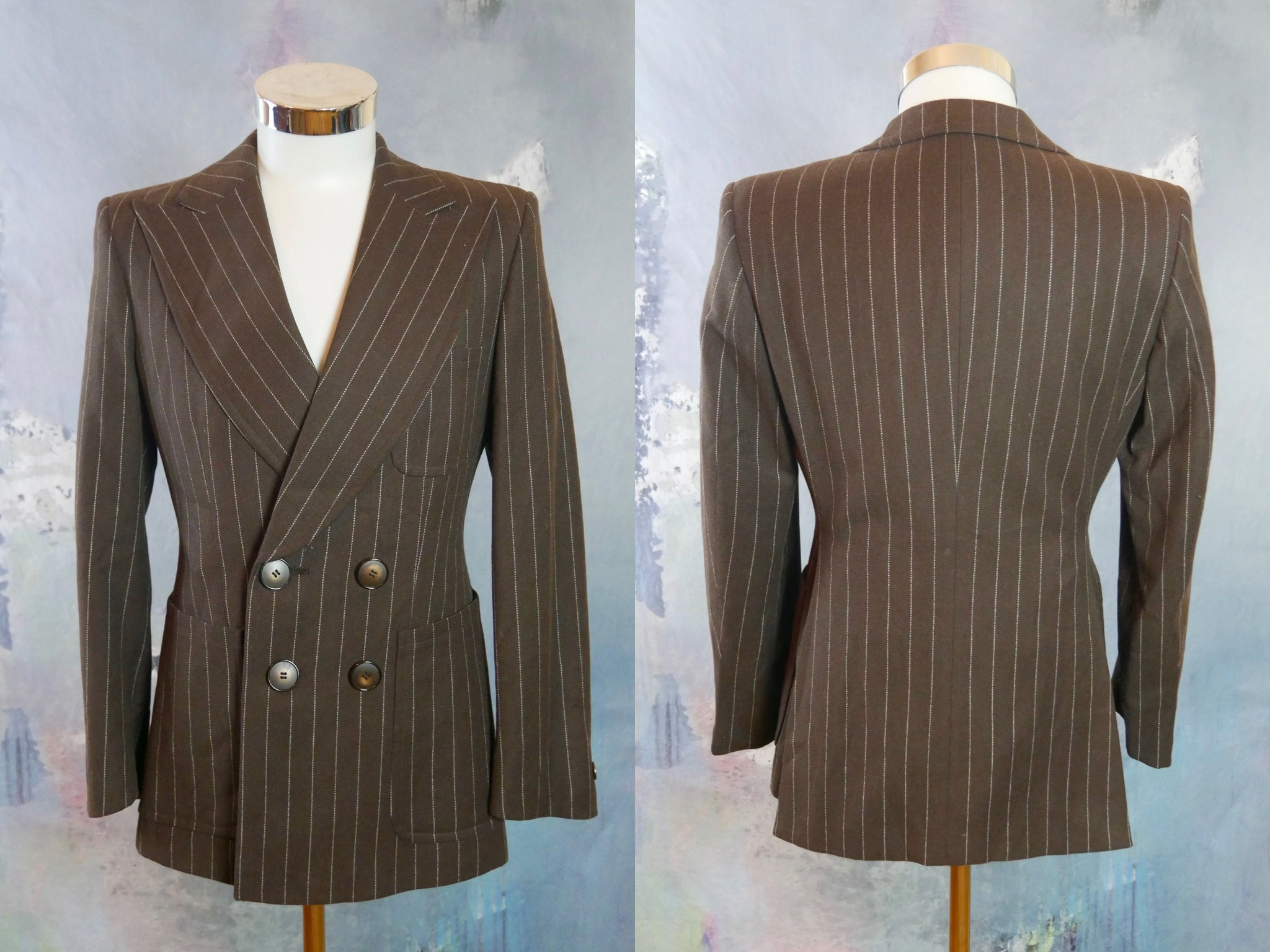 1970s Double-Breasted Pinstripe Blazer, European Vintage Brown Wool Blazer with Super Wide Peak Lapels, Made in Finland: Size 36 US/UK - DownShifting Vintage Menswear