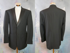 Black Peak Lapels Tuxedo Jacket, Formal Smoking Jacket:  Size 44 US/UK - DownShifting Vintage Menswear