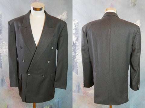 Charcoal Gray Wool Double-Breasted Blazer, 1990s European Vintage Jacket with Peak Lapels: Size 42 US/UK - DownShifting Vintage Menswear