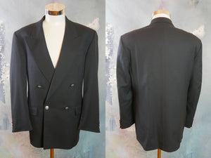 Double-Breasted Blazer, Swedish Vintage Navy Blue Wool Jacket w Peak Lapels: Size 42 US/UK - DownShifting Vintage Menswear