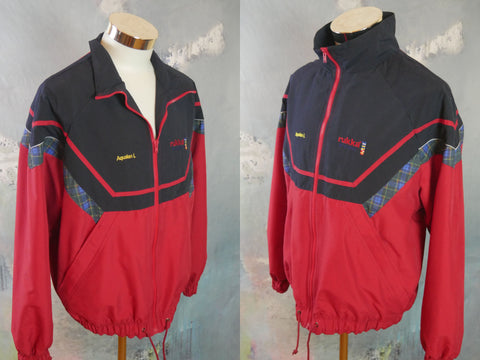 1990s Red & Navy Blue Jacket, Finnish Vintage Zippered RUKKA Sport Jacket: Size Large (40 to 42 US/UK) - DownShifting Vintage Menswear