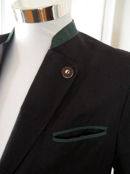 Size 36 Short Black Linen Trachten Jacket, Traditional Tyrol & Bavarian Octoberfest Blazer: 36S US/UK - DownShifting Vintage Menswear