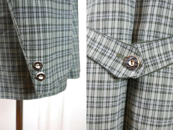 Austrian Vintage Trachten Jacket, Heather and Forest Green Gray Plaid Traditional Tyrol Blazer, Octoberfest Jacket: Size 40 US/UK - DownShifting Vintage Menswear