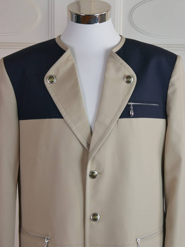 Bavarian Vintage Trachten Jacket, Beige Black Lightweight Wool-Blend Landhaus Walking Jacket, Octoberfest, German Festival: Size 42 US/UK - DownShifting Vintage Menswear