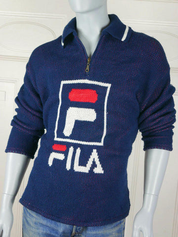 1980s Vintage FILA Knit Sweater Shirt, Navy Blue Red White Knit Surfer-Style Sweater: Size 42 to 44 - DownShifting Vintage Menswear