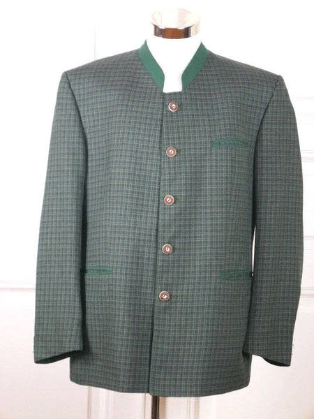 Austrian Vintage Trachten Jacket, Heather Green Forest Green Navy Blue Plaid Bavarian Walking Jacket, Octoberfest: Size 44 US/UK - DownShifting Vintage Menswear