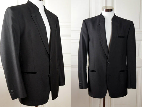 Austrian Vintage Formal Trachten Jacket, Black w Silver Lurex Thread Tuxedo Style Bavarian Folk Jacket: Size 40 US/UK - DownShifting Vintage Menswear