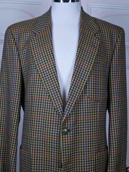 Austrian Vintage Houndstooth Blazer, Single-Breasted Wool Amber Burnt Orange Violet Red Green Check Sports Coat Jacket: Size 40 US/UK - DownShifting Vintage Menswear