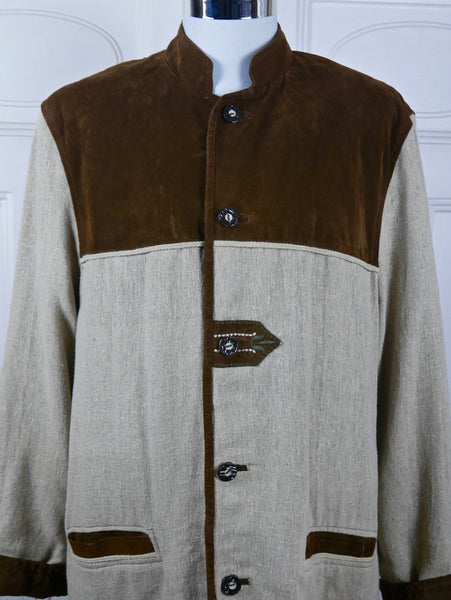 Bavarian Vintage Yeoman Jacket, Beige Raw Linen Chocolate Brown Suede German Trachten Farmer Jacket w Faux Antler Buttons: Size 42 US/UK - DownShifting Vintage Menswear
