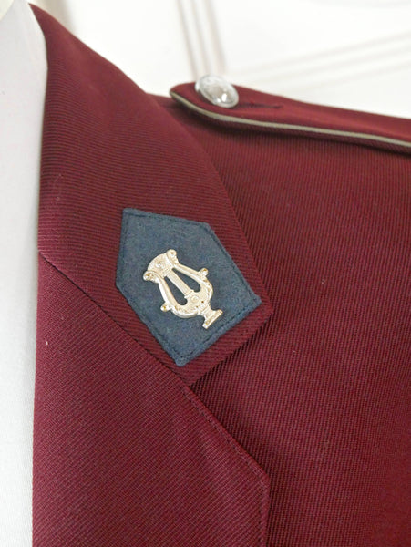 Band Officer Uniform Jacket, Burgundy Music Department Officer Blazer w Epaulets and Silver Apollo Lyre Pins, Military Costume: Size 40 US/UK - DownShifting Vintage Menswear