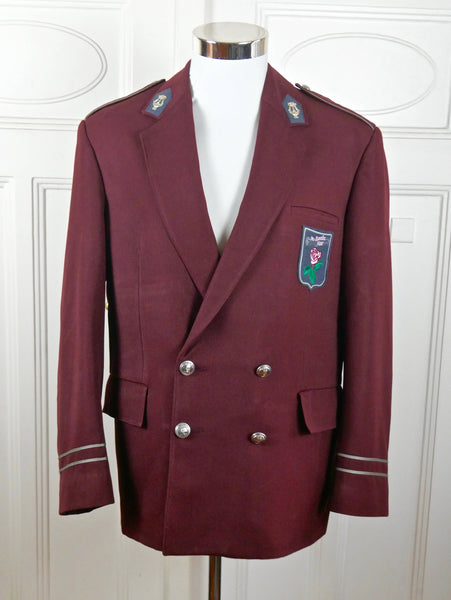 Band Officer Uniform Jacket, Burgundy Music Department Officer Blazer w Epaulets and Silver Apollo Lyre Pins, Military Costume: Size 44 US/UK - DownShifting Vintage Menswear