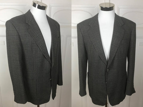 1980s Wool Blazer, German Vintage Gray Black Burgundy Dark Blue Houndstooth Jacket, Dogstooth Jacket, Made in West Germany: Size 42 US/UK - DownShifting Vintage Menswear