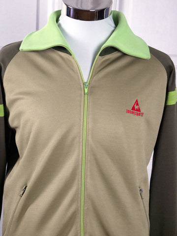90s Le Coq Sportif Track Jacket, Beige Mint Green and Olive Green Zippered Tracksuit Vintage Sports Jacket: Size XL (44 US/UK) - DownShifting Vintage Menswear