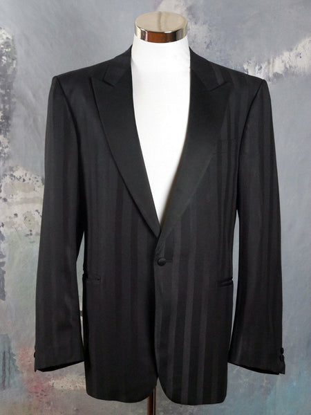 Striped Tuxedo Jacket, 1980s German Vintage Wilvorst Black-on-Black Single-Breasted Smoking Jacket, Made in West Germany: Size 42 US/UK - DownShifting Vintage Menswear