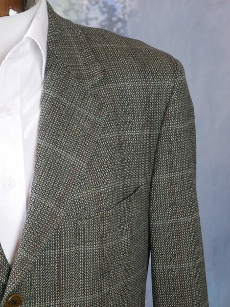 1980s Tweed Blazer, Italian Vintage Olive Green & Gray Wool Cashmere Blend Windowpane Check Single-Breasted Jacket: Size 40 US/UK - DownShifting Vintage Menswear