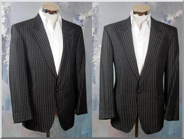 European Vintage Black & Silver Striped Blazer, Wool-Blend Single-Breasted Jacket: Size 40 US/UK - DownShifting Vintage Menswear