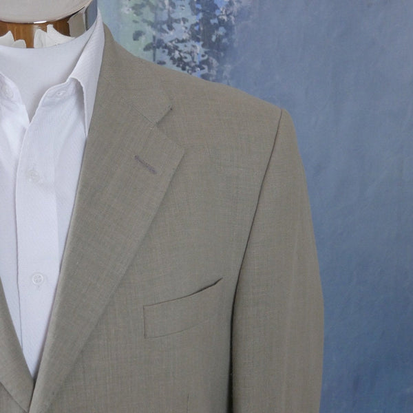1990s Beige Blazer, Linen Blend Matti Collection by Marimekko Jacket: Size 44 US/UK - DownShifting Vintage Menswear