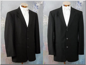 Black Blazer w Fine Gray Stripes, 1990s Vintage Three-Button Jacket: Size 44 US/UK - DownShifting Vintage Menswear