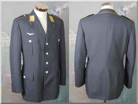 Air Force Jacket, 1970s West German Vintage Slate Blue Military Officer Uniform Blazer: Size 40 US/UK - DownShifting Vintage Menswear
