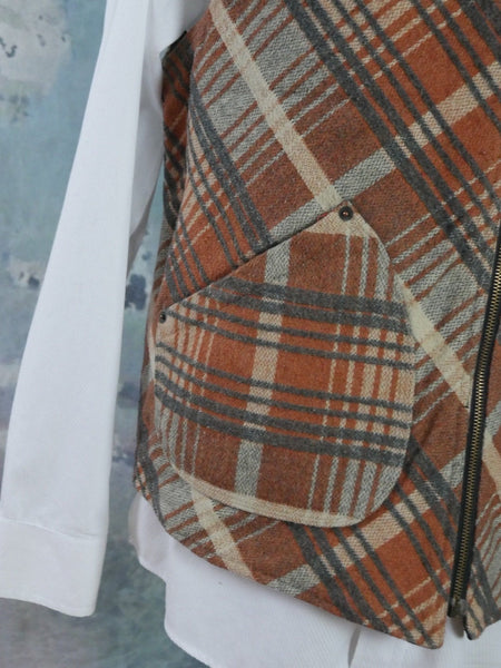 Plaid Wool Vest, 1980s European Vintage Rust Beige & Gray Wool Blend Zippered Waistcoat: Size 44 US/UK - DownShifting Vintage Menswear