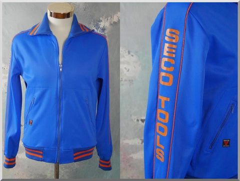 Track Jacket, 1980s Swedish Vintage Blue & Orange Sports Training Jacket: Size 38 US/UK - DownShifting Vintage Menswear