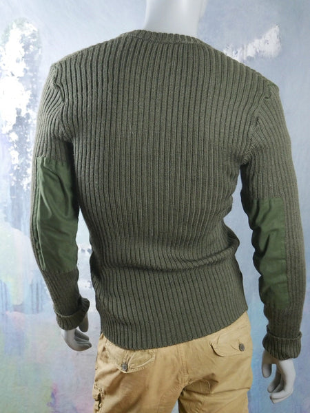 Swedish Military Sweater, 1980s Vintage Olive Drab Wool Zippered Army Sweater with Elbow Patches: Size 38 to 40 US/UK - DownShifting Vintage Menswear