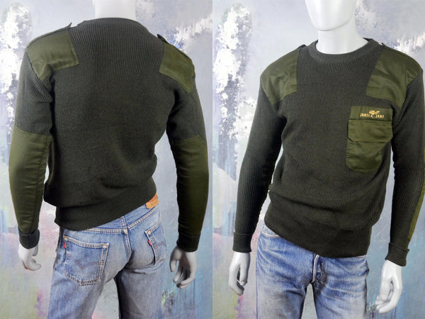 Army Green Military Sweater, European Vintage Olive Drab Crewneck Pullover w Reinforced Elbow & Shoulder Patches and Epaulets: 42 US/UK - DownShifting Vintage Menswear