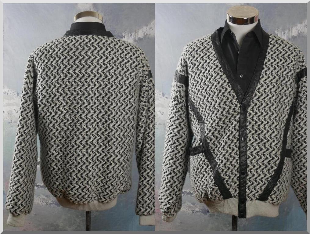 Vintage Cardigan Jacket, Black & Light Gray Wool-Blend V-Neck Button-Down Sweater Jacket with Leather Accents: Size 46 to 48 US/UK - DownShifting Vintage Menswear