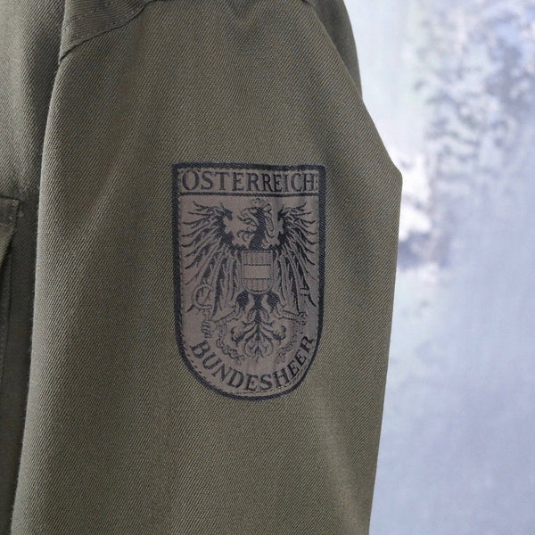 Austrian Army Shirt, European Vintage Khaki Green Long-Sleeve Olive Drab Shirt with Epaulets: 40 to 42 US/UK - DownShifting Vintage Menswear