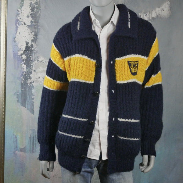 America's Cup Cardigan, 1977 Swedish Challenge Blue Yellow & White Wool Knit Button-Down Sweater: Size 44 to 46 US/UK - DownShifting Vintage Menswear