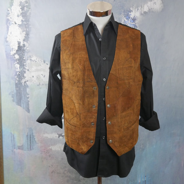 Camel Tan Goat Leather Suede Vest, 1980s Vintage Pointed-Front Waistcoat: Size 42 US/UK - DownShifting Vintage Menswear