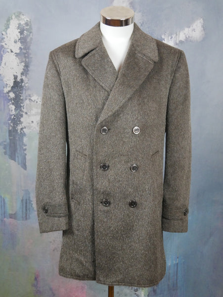 1980s Brown Mohair Wool Double-Breasted Overcoat, Made in West Germany: Size 44 US/UK - DownShifting Vintage Menswear