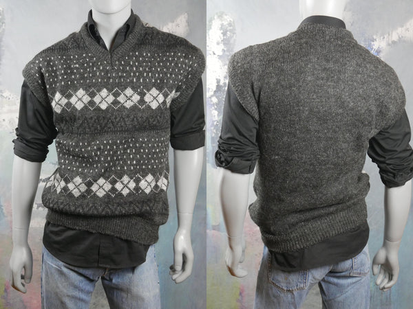 Argyle Sweater Vest, 1980s European Vintage Charcoal & Light Gray Wool V-Neck Sleeveless Pullover: Size 42 to 44 US/UK - DownShifting Vintage Menswear