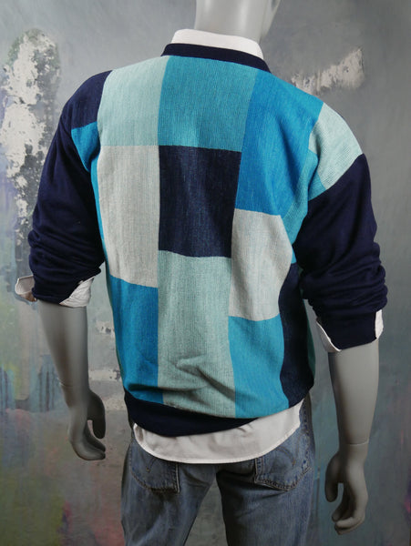 Turquoise & Navy Blue Color Block Crew Neck 1980s Swedish Sweater: Size 42 to 44 US/UK - DownShifting Vintage Menswear