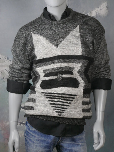 Hand Knit Gray Wool Sweater, 1980s Retro Crew Neck Knit Pullover with Geometric Pattern on Front: Size 42 to 44 US/UK - DownShifting Vintage Menswear