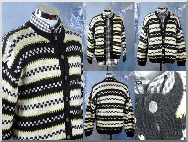 Austrian Wool Knit Cardigan, European Vintage Cream Black & Yellow Button-Down Striped Sweater w Hammered Pewter Buttons: Size 42 to 44 US/UK - DownShifting Vintage Menswear
