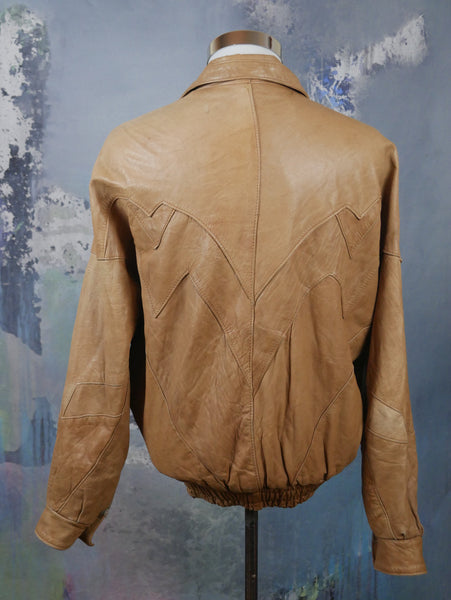 Camel Tan Leather Bomber Jacket, 1980s Italian Vintage Retro Zippered Jacket: 46 to 48 US/UK - DownShifting Vintage Menswear
