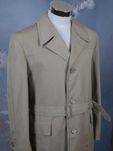 Beige Trench Coat, 1970s European Vintage Belted Raincoat with Removable Lining: Size 40 US/UK - DownShifting Vintage Menswear