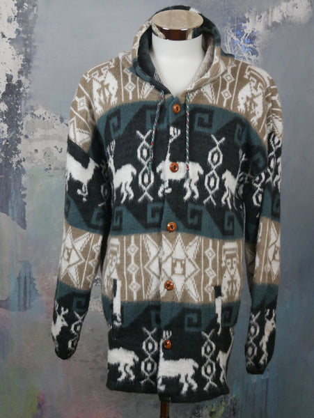 Aztec Jacket, Llama Wool Hooded Cardigan Jacket, Beige Cream Black & Teal Blue Andes Jacket, Made in Ecuador: Size 44 US/UK - DownShifting Vintage Menswear