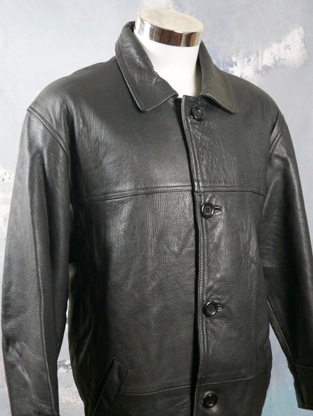 1990s Black Leather Coat, Retro Genuine Leather Jacket: Size 46S US/UK) - DownShifting Vintage Menswear