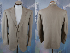 Beige Wool Blazer, 1980s Single-Breasted European Vintage Men's Sports Coat, Retro Jacket, Made in Yugoslavia: Size 44S US/UK - DownShifting Vintage Menswear