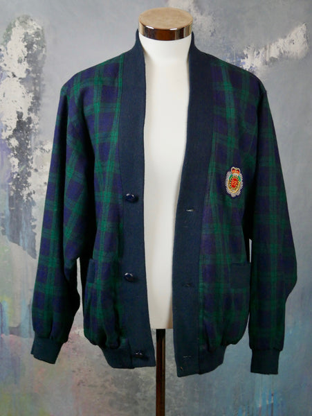 1980s Wool Cardigan Jacket, European Vintage Navy Blue & Dark Green Plaid Casual Jacket w Royal Patch on Left Chest: Size 40 US/UK - DownShifting Vintage Menswear