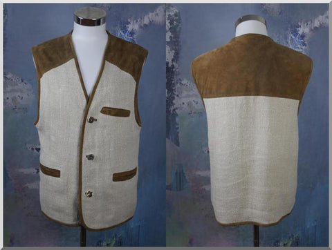 Austrian Trachten Vest, Beige Linen & Brown Suede Leather Vest, Vintage Tyrol Bavarian Octoberfest Waistcoat: Size 40 to 42 US/UK - DownShifting Vintage Menswear