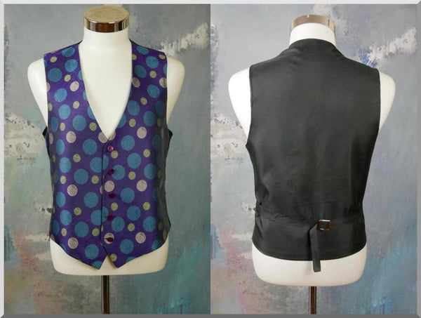 Polka Dot Vest, 1980s British Vintage Purple Turquoise Green Silver Pointed-Front Waistcoat: Size 38 to 40 US/UK - DownShifting Vintage Menswear