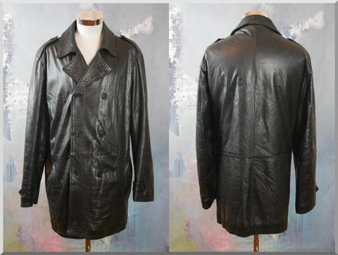 1990s Black Leather Coat, Italian Vintage Soft Retro Genuine Leather Double-Breasted Coat: XXL (48 US/UK) - DownShifting Vintage Menswear