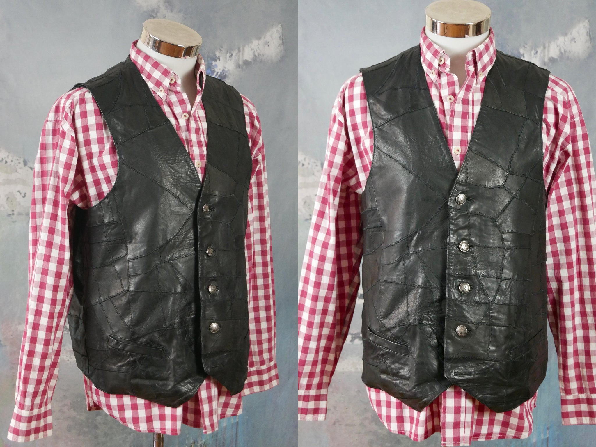 1990s Black Leather Vest, European Vintage Patchwork Leather Pointed Front Waistcoat: XL (42 to 44 US/UK) - DownShifting Vintage Menswear