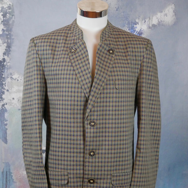 Austrian Trachten Jacket, Lightweight Cotton Blend Single-Breasted Bavarian Check Blazer: Size 42 US/UK - DownShifting Vintage Menswear