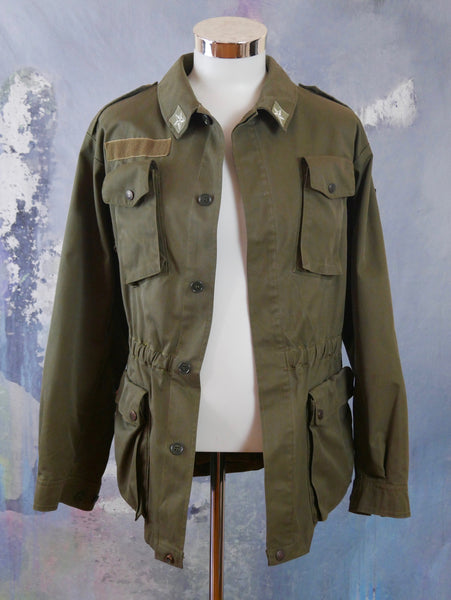 Army Jacket, Italian Vintage Khaki Green Military Jacket: Size 42 US/UK - DownShifting Vintage Menswear