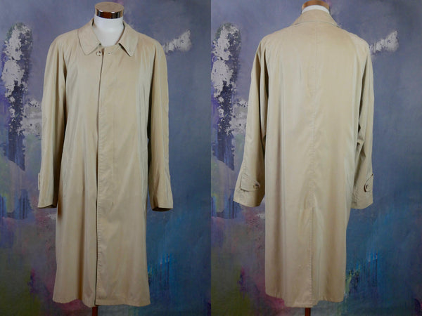 Beige Raincoat, European Vintage Single-Breasted Trench Coat Like Soft Lightweight Overcoat: Size 46 to 48 US/UK - DownShifting Vintage Menswear